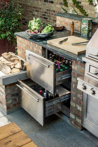 Outdoor Kitchen Fridge with Stacked Beverage Drawers