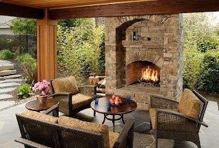 Outdoor Kitchen Fireplace Ideas and Eva Furniture