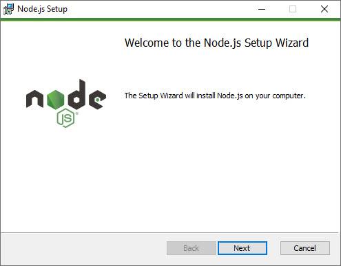 Màn hình hướng dẫn cài đặt node.js