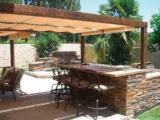 Outdoor Kitchen Canopy Pergola Awnings Shades Decks Backyard Patio