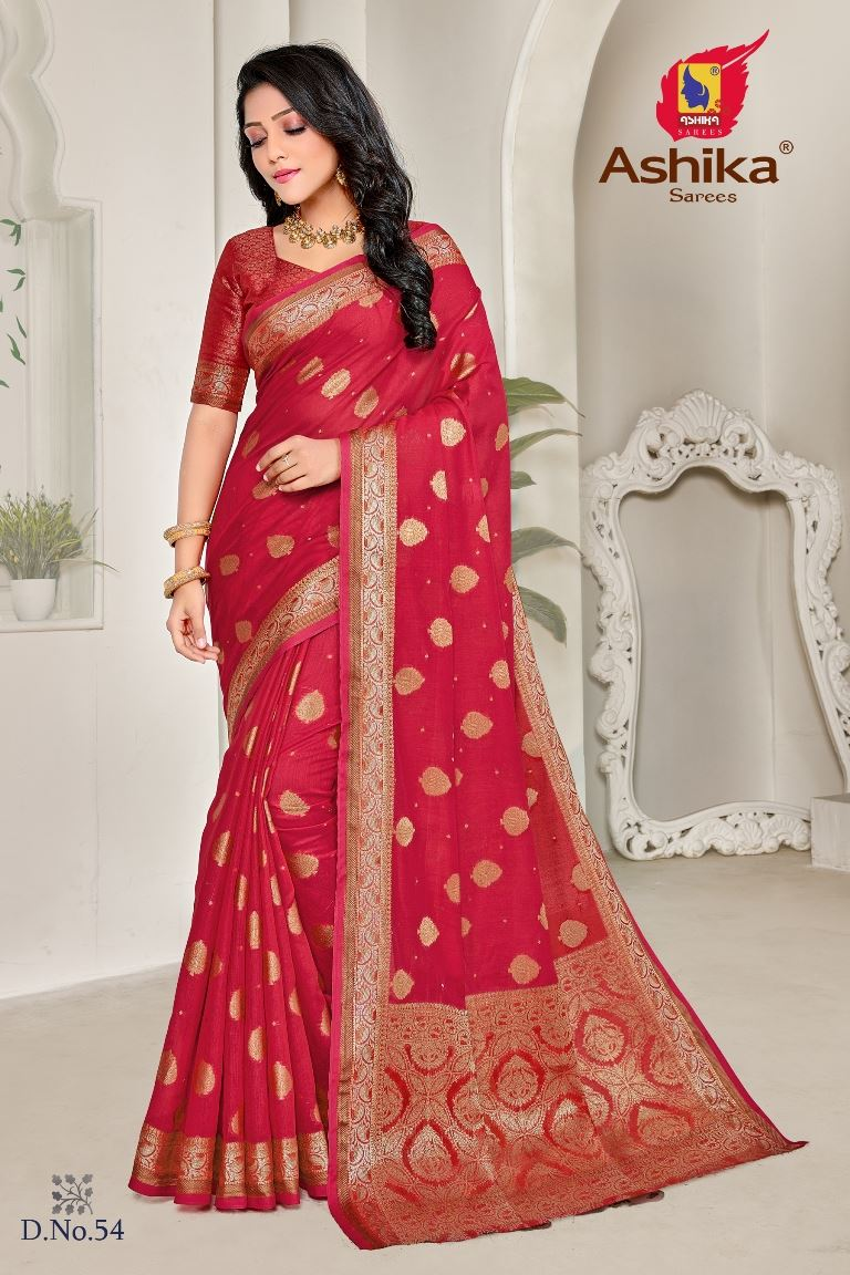 Red Colour linen Fabric Fancy Saree