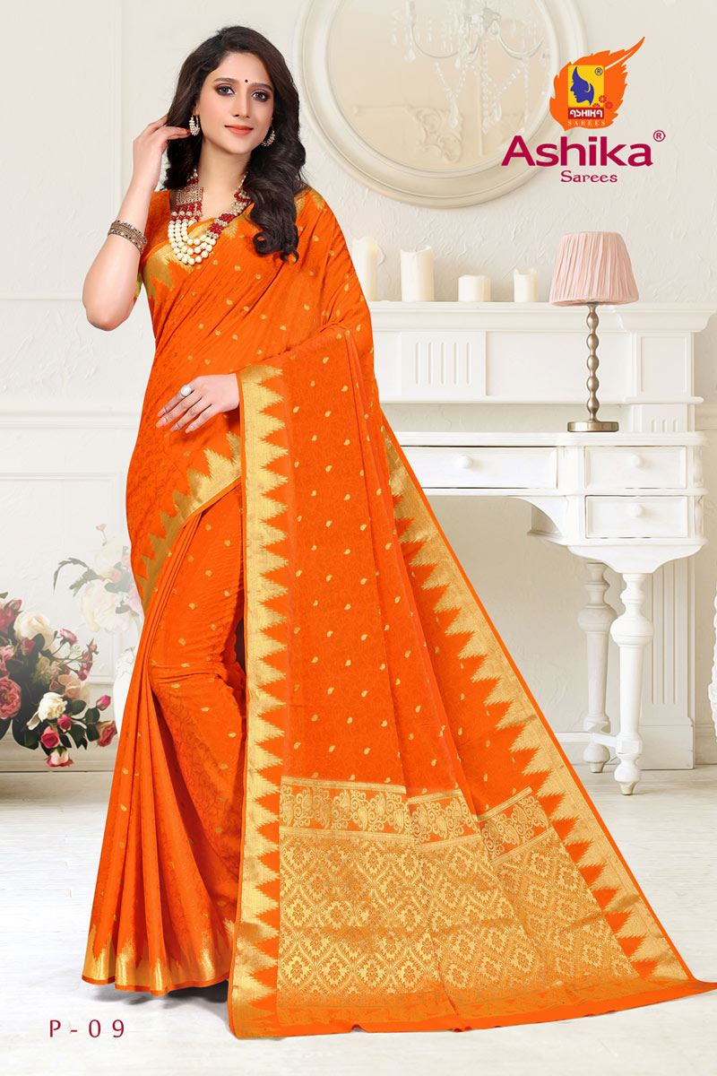 Orange Color Crepe Fabric Function Wear Weaving Work Saree