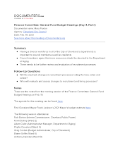 Finance Committee: General Fund Budget Hearings (Day 4, Part I)
