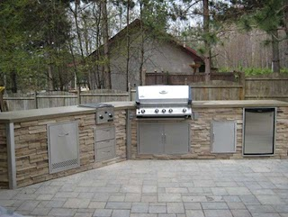 Outdoor Kitchen Stone Stacked Traditional Patio Cleveland By