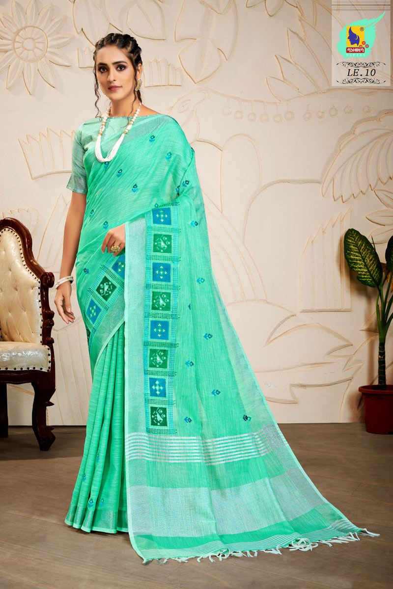 Turquoise Color Embroidered Linen Fabric Fancy Saree