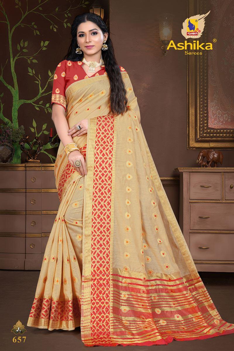 Cream Color Cotton Silk Fabric Weaving Work Wedding Wear Saree
