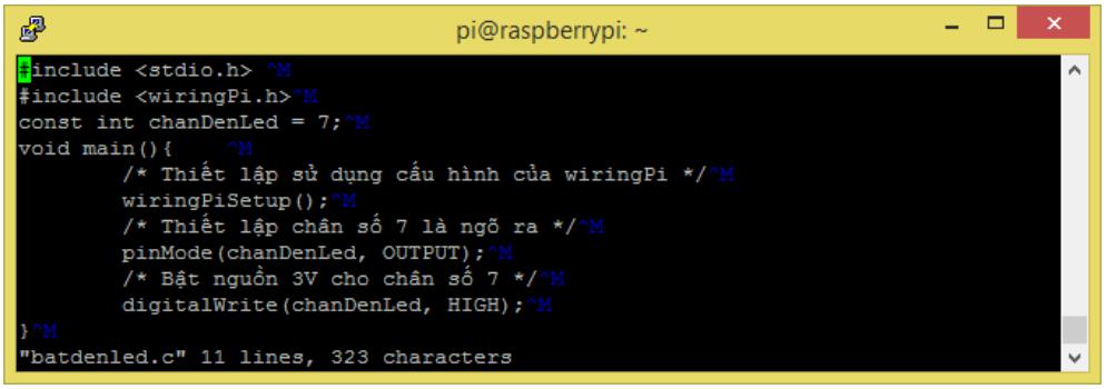 Lập trình python điều khiển led dùng thư viện wiringpi