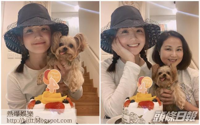 阿Sa同媽咪為愛犬栗子妹慶祝4歲生日。