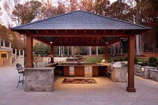 Outdoor Kitchen Structures Freestanding with Stainless Steel Appliances And