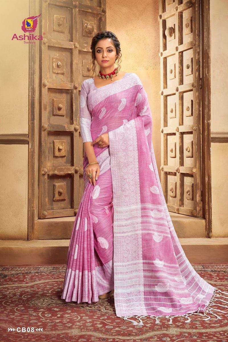 Pink Cotton Linen Resham Work Saree