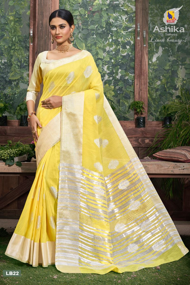 Yellow Color Linen Fabric  Casual Zari Work Saree