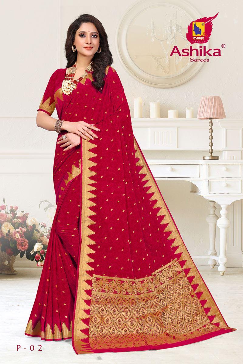 Rani Color Crepe Fabric Function Wear Weaving Work Saree