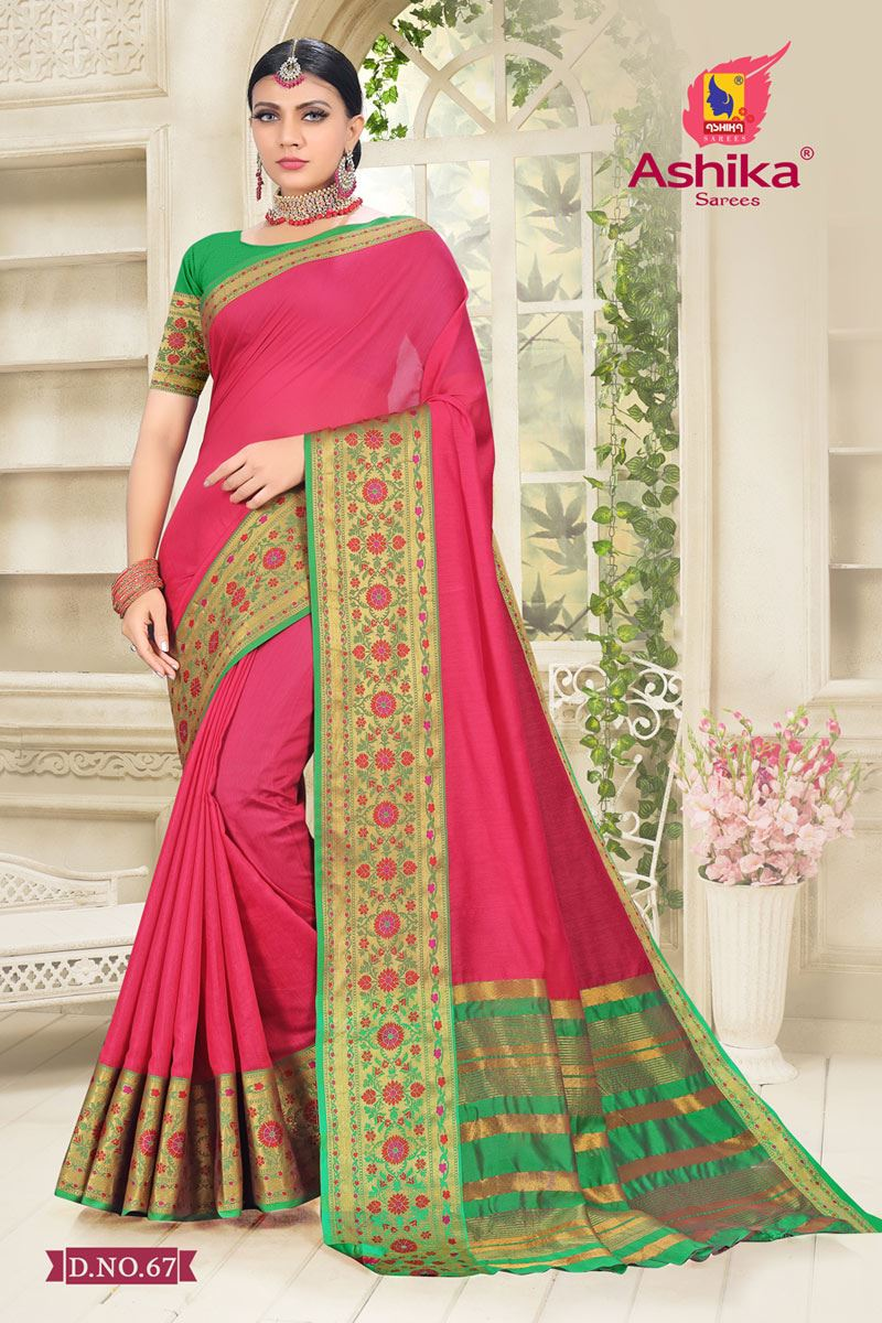 Pink Color Cotton Silk Fabric Reception Wear Border Work Saree