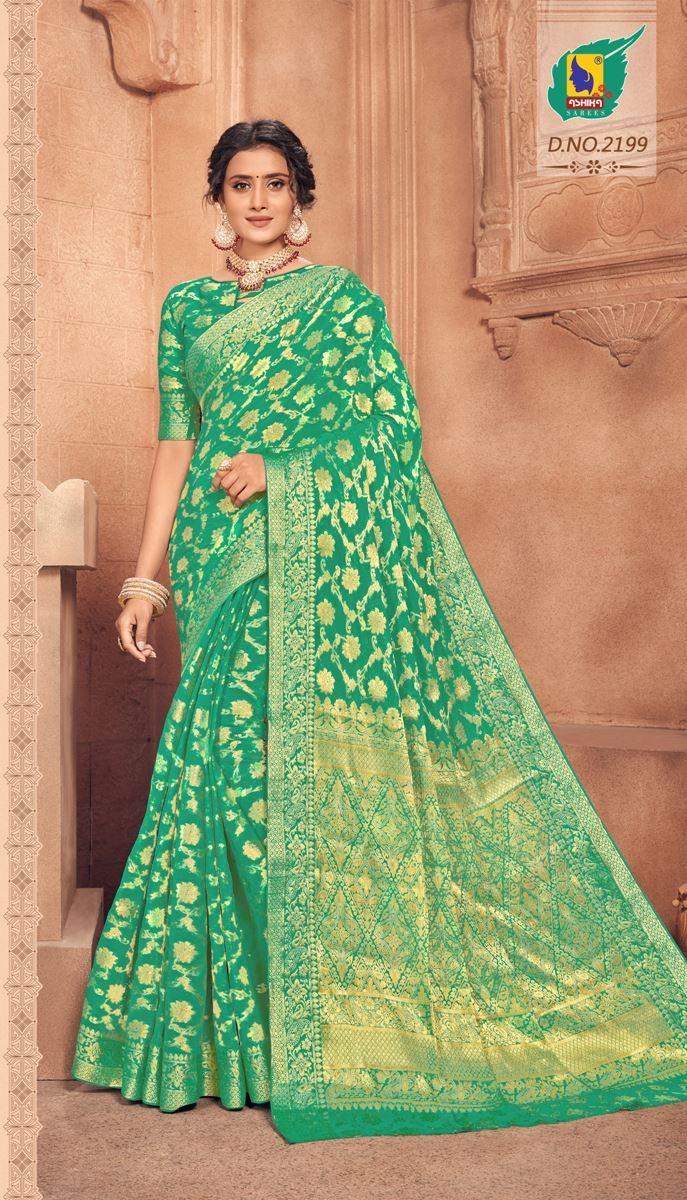 Green Colour Chiffon Saree