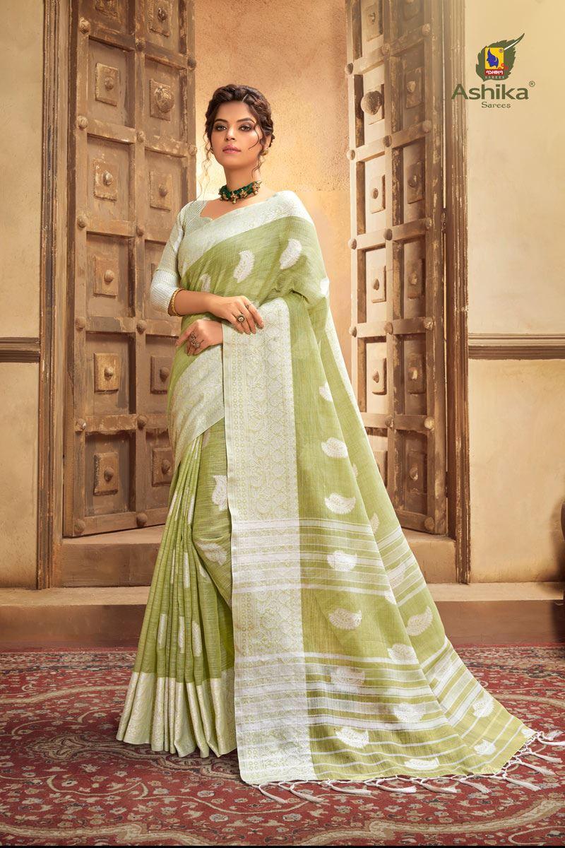 Khaki Color Cotton Linen Fabric Stylish Resham Work Saree