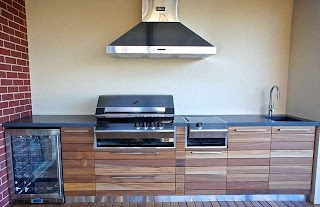 Outdoor Kitchen Benchtops with a Polished Concrete Benchtop Hardwood Doors