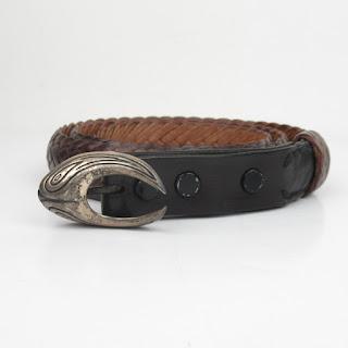Larry Knapp Sterling Silver and Leather Belt