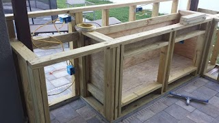 Building an Outdoor Kitchen with Wood Our DIY This Grey House