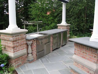 Outdoor Brick Kitchen Bbq S NJ  Built in Grill Fireplace Design Ideas