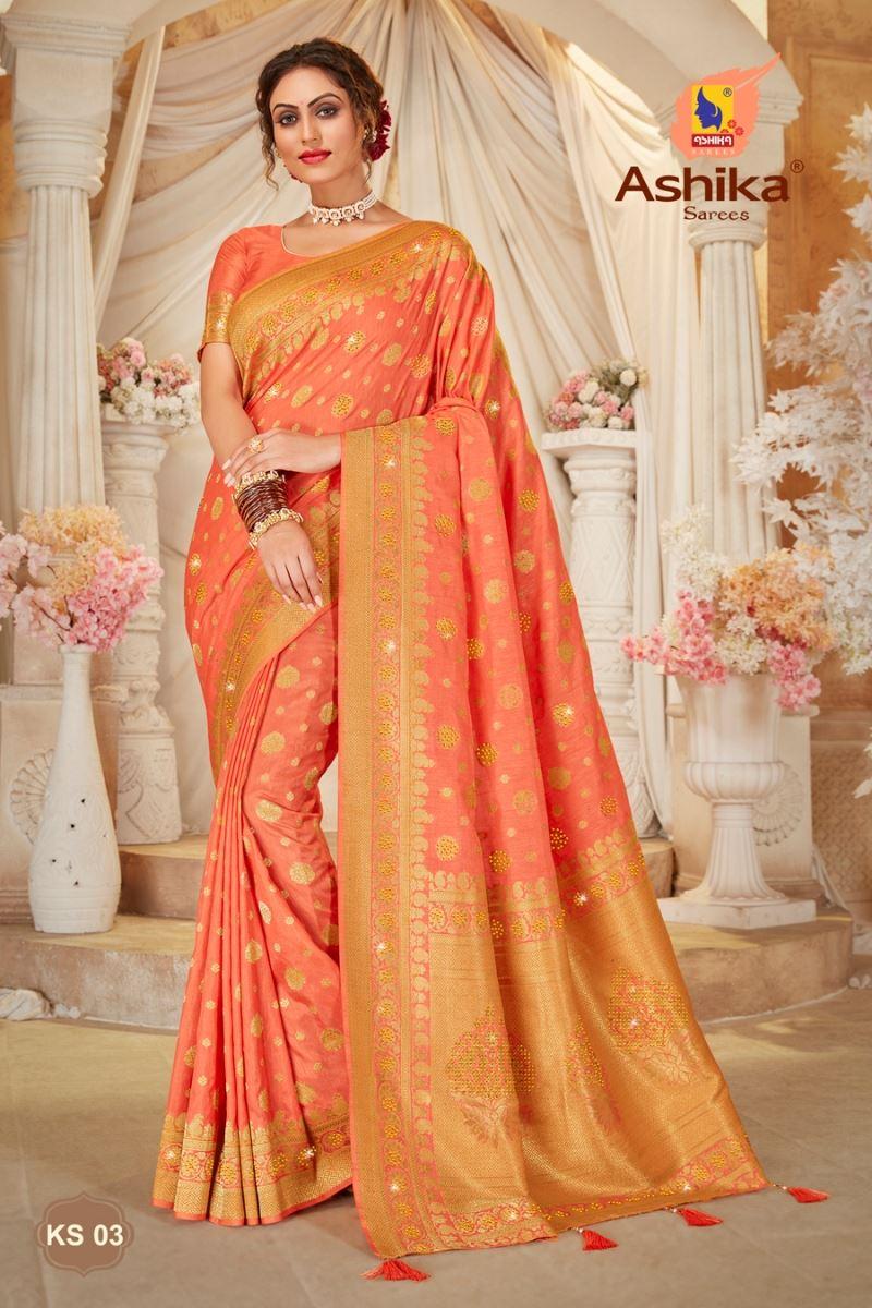 Peach Color Art Silk Fabric Stone Work Festive Wear Trendy Saree