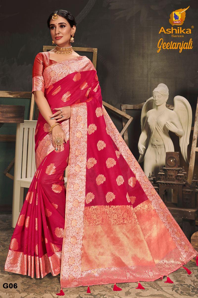 Dark Pink Color Cotton Silk Fabric Trendy Weaving Work Saree