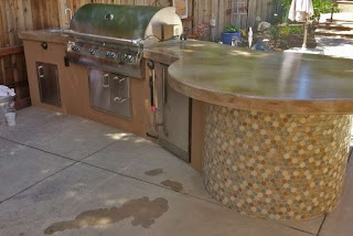 Outdoor Kitchen Tile Simple with Accent Custom Image Hardscape