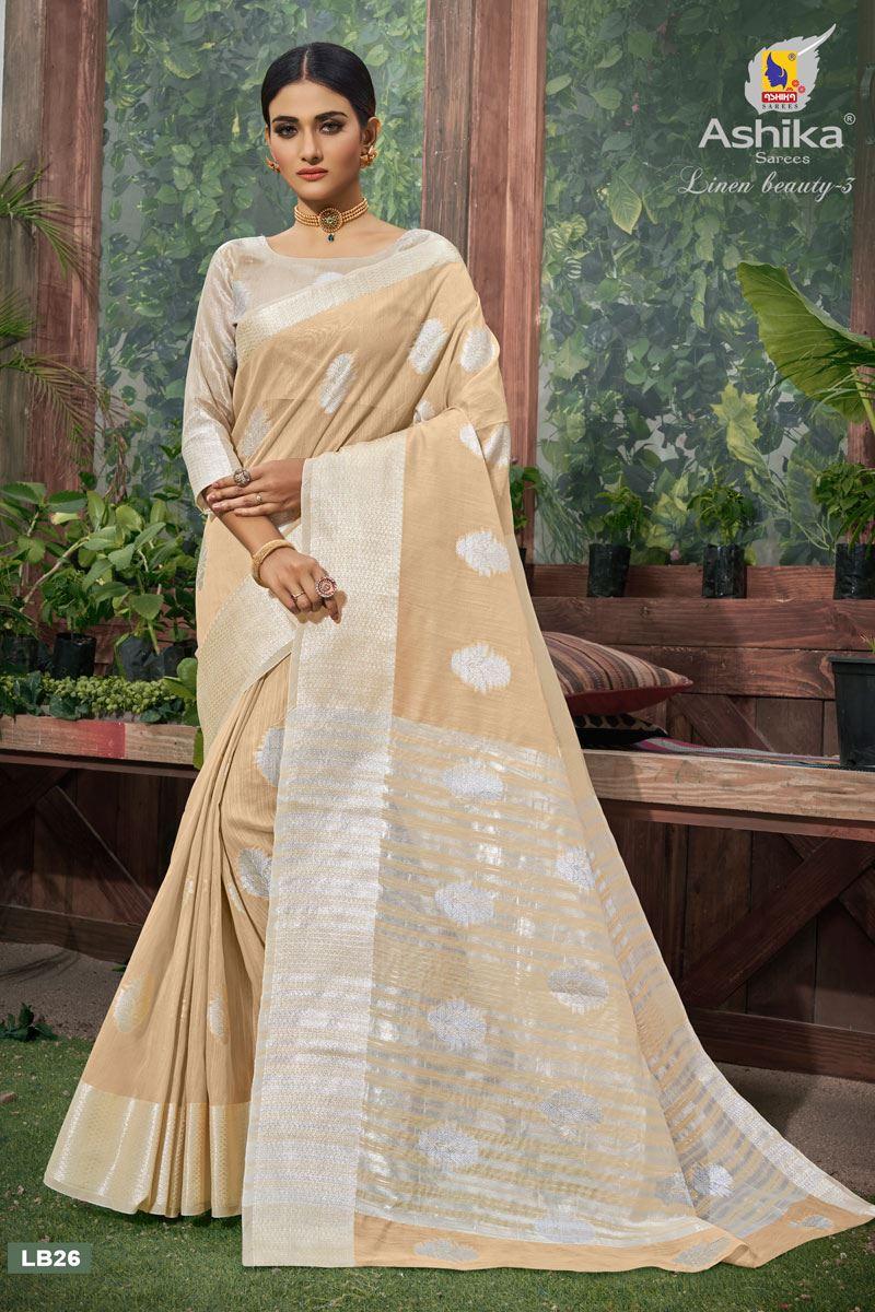 Chikoo Color Linen Fabric  Casual Zari Work Saree