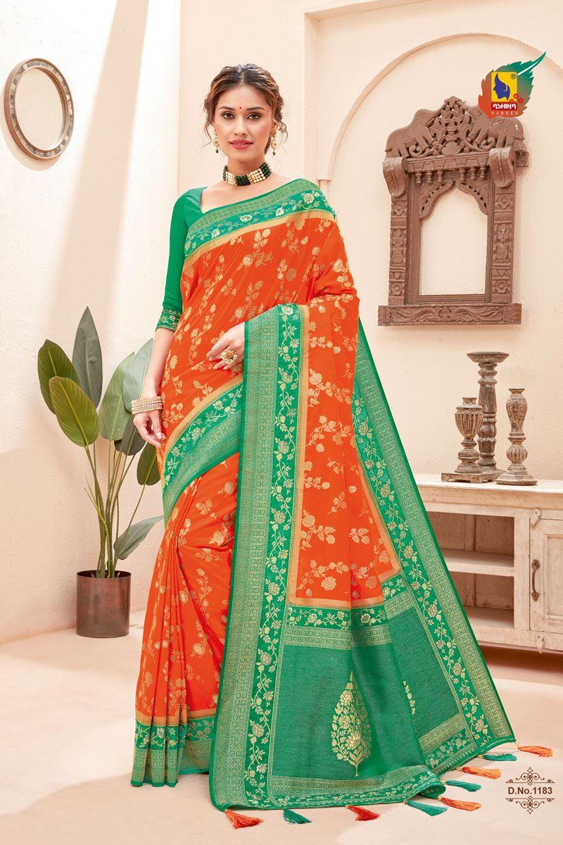Orange Color Silk Fabric Zari Work Sangeet Wear Fancy Saree