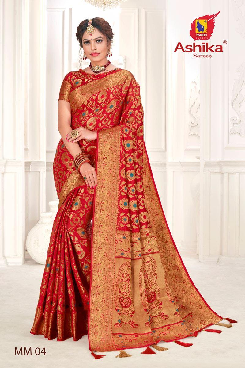 Red Color Silk Fabric Festive Wear Zari Work Saree