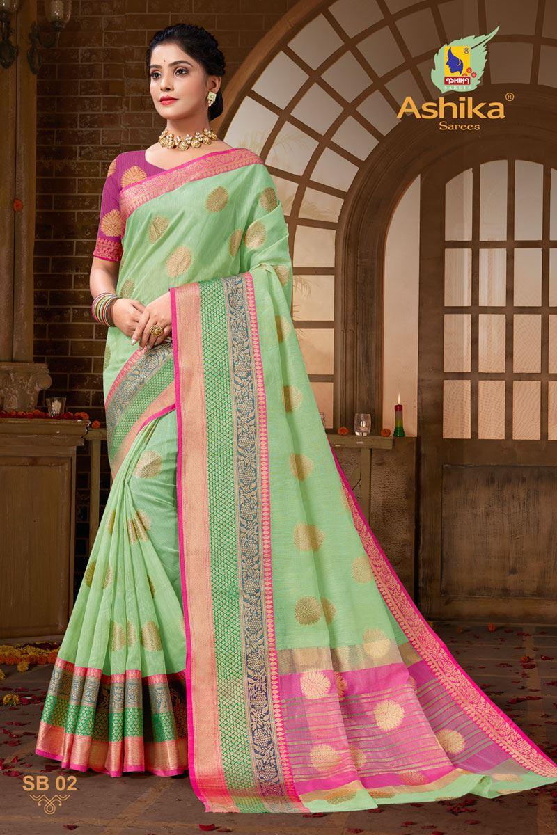 Sea Green Color Zari Work Designer Cotton Silk Fabric Function Wear Saree