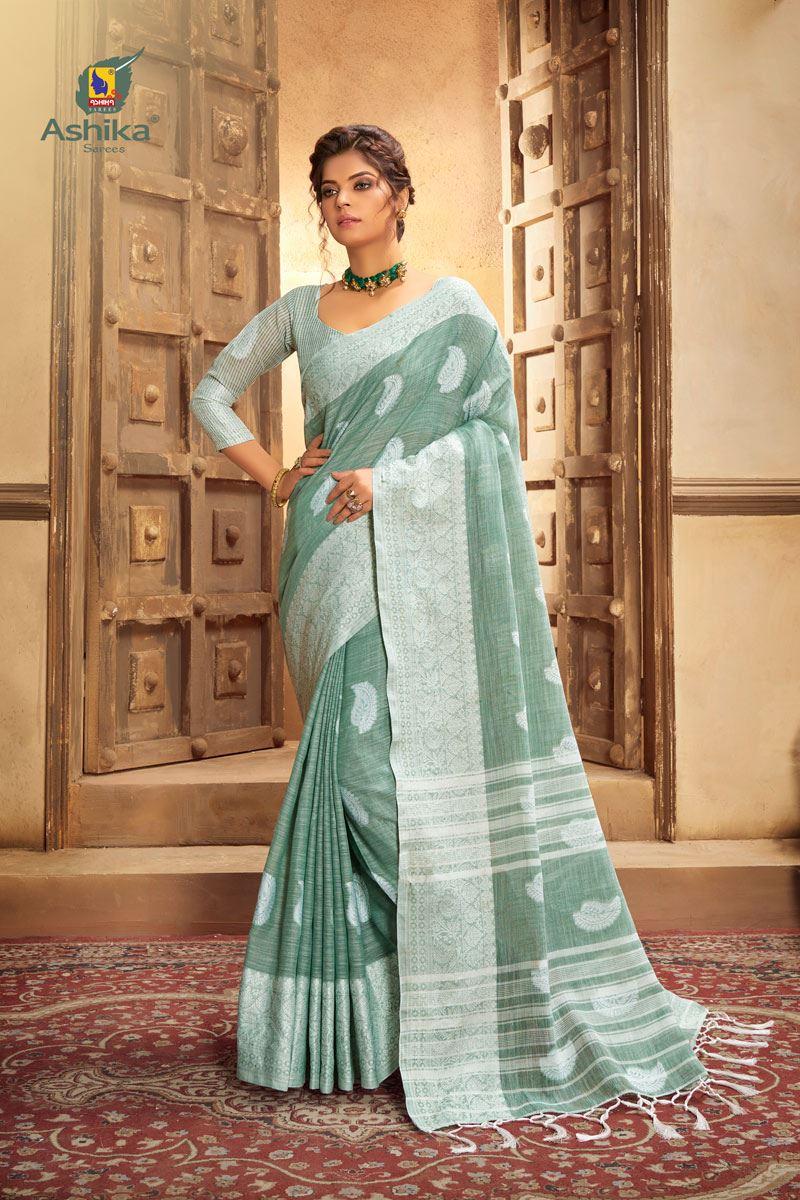 Light Grey Color Cotton Linen Fabric Stylish Resham Work Saree