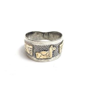 Sterling Silver & 18K Gold Llama Pueblo Ring