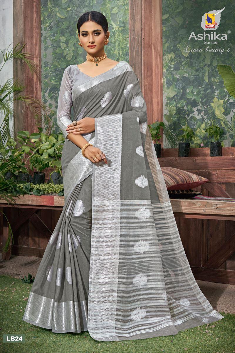 Grey Color Linen Fabric  Casual Zari Work Saree