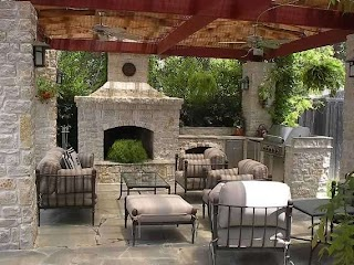 Outdoor Kitchen with Firepit Fire Pit and Furniture Traditional Patio