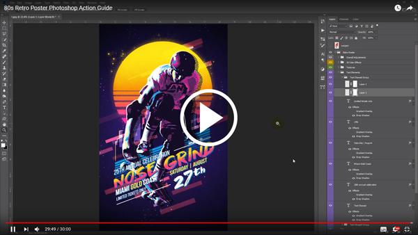 80's Retro Poster Photoshop Action - 1