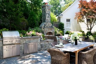 Outdoor Fireplace and Kitchen Pictures Gallery Lscaping Network