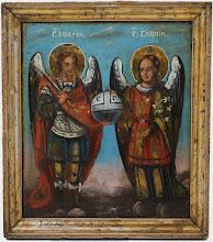 "Icoana ""Sfantul Mihail si Sfantul Gavril"", sec al XIX-lea, Romania"