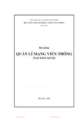 BCVT.Bài Giảng Quản Lý Mạng Viễn Thông - Ts. Nguyễn Tiến Ban & Ths. Hoàng Trọng Minh, 132 Trang.pdf