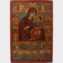 """Icoana greceasca """"Maica Domnului si Proorocii"""", sec al XVIII-lea"""