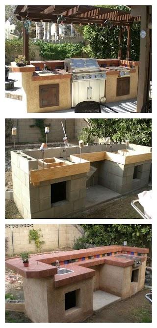 Diy Cinder Block Outdoor Kitchen Concrete S Barbecue