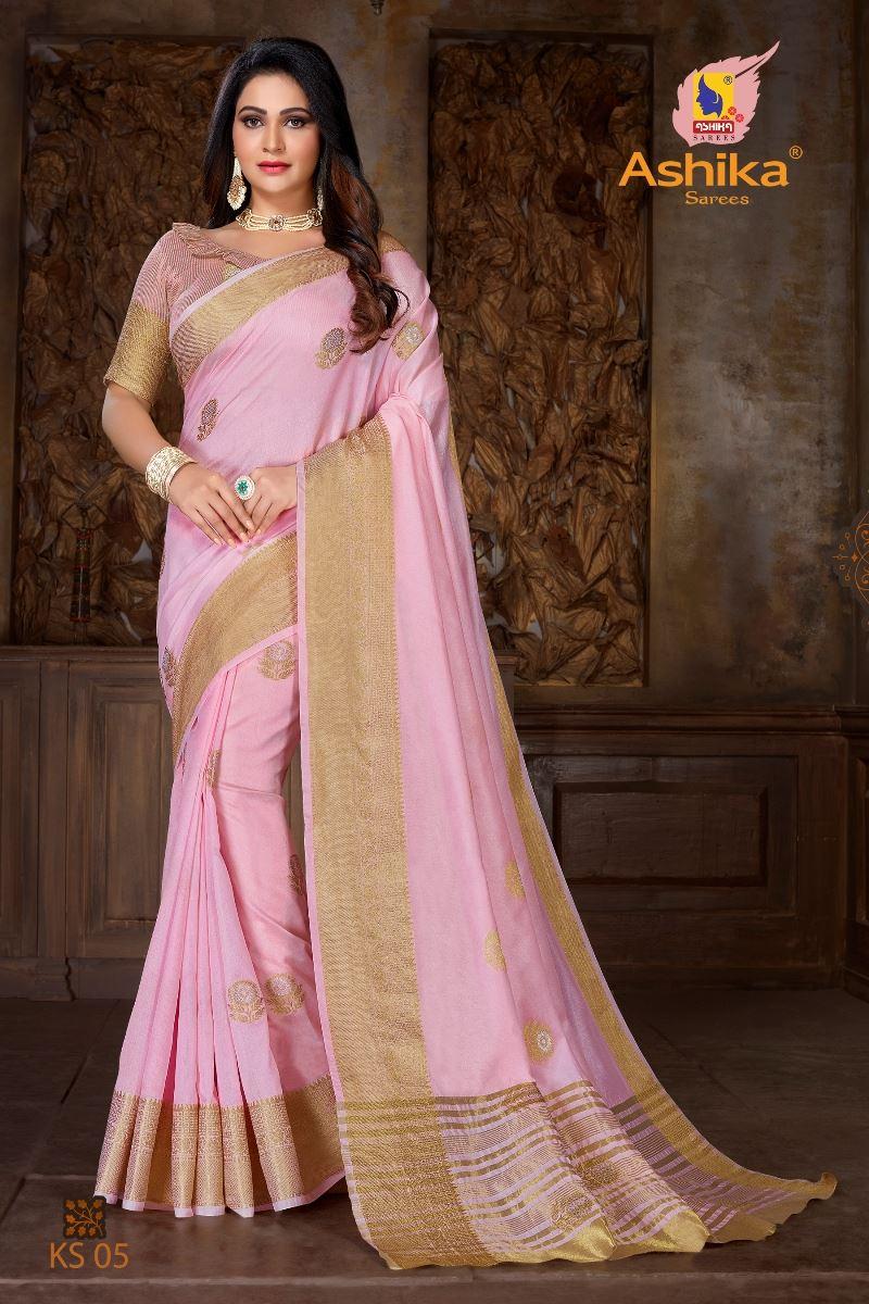 Pink Colour Soft Mercerised Cotton Silk With Rich Gold And Silver Zari Butta