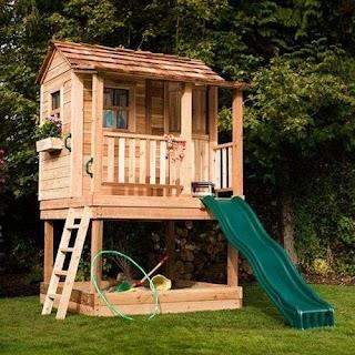 Outdoor Playhouse with Kitchen Sunflower 6x9 Cedar Sandbox DIY Play