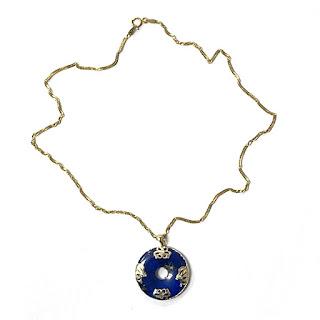 14K Gold & Enamel Bi-Disc Pendant Necklace