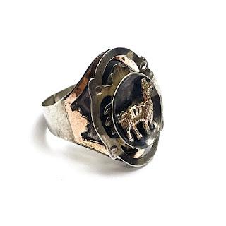 Sterling Silver & 18K Gold Llama Ring
