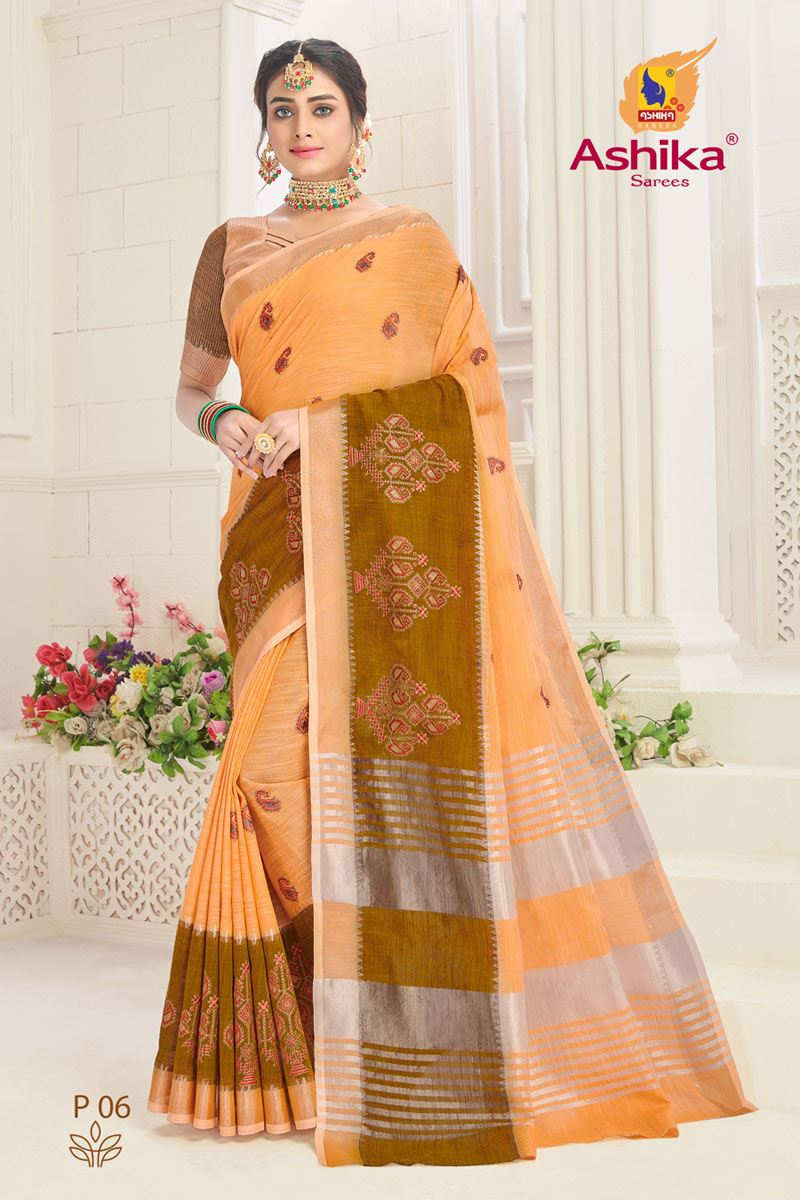 Peach Linen Fabric Embroidered Daily Wear Simple Saree