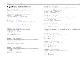 Exercices Equations différentielles prepa dupuy de lome