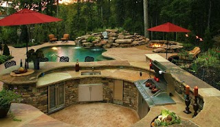 Backyard Designs with Pool and Outdoor Kitchen for Worthy