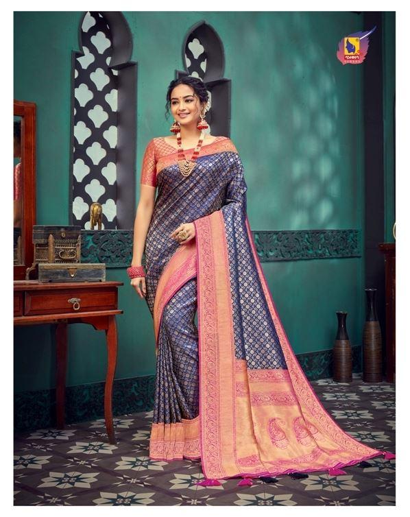 Navy Blue Color Art Zari Silk Fabric  Work Fancy Saree