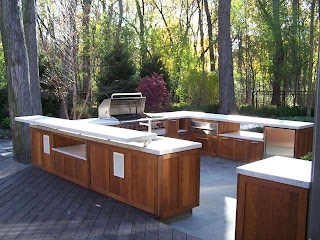 Outdoor Kitchen Wood Shaker Style Traditional Patio