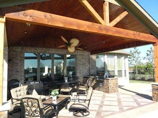 Covered Outdoor Kitchens Cooking Area with Pool With
